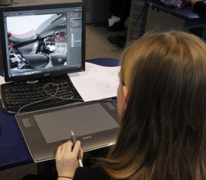 Use of a graphics tablet in an ADT lesson.